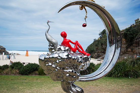 Autumn Moon in the Sky by Chen Wenling, at the Scupture by the Sea exhibition 2017 on the Bondi to Tamarama coastal walk, Sydney