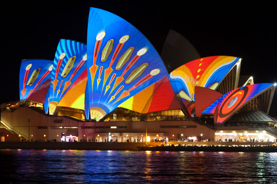 Sydney Opera House looks lihke a brightly coloured butterfly during the Vivid Sydney light festival