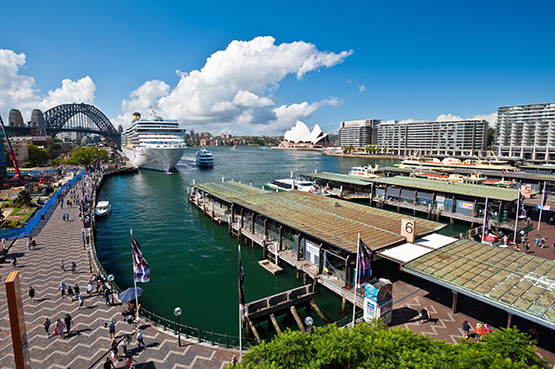 An ocean Liner cruise ship sits docked at Circular Quay's Overseas Passenger terminal, Sydney
