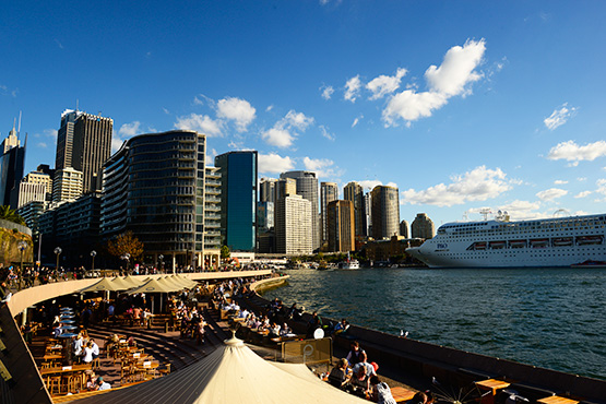 Outdoor restaurants leads from the Opera House to Circular Quay, Sydney