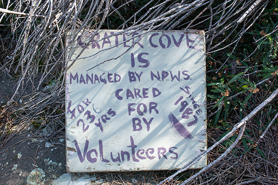 Sign near Crater Cove, Sydney