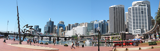 "A ""fish-eye"" view of  Darling Harbour, Sydney"