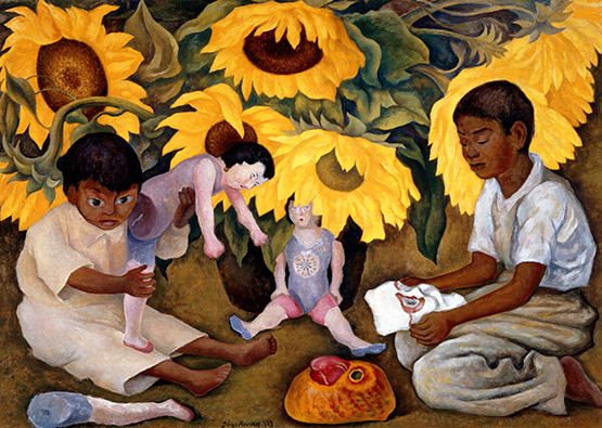 Sunflowers, by Diego Rivera, 1943, oil on canvas