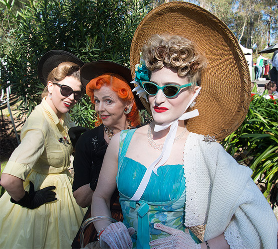 From left, Kath, Nicola and Eszter at Fifties fair, Rose Seidler House