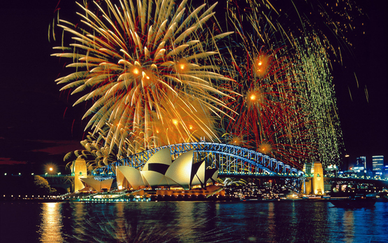 A HDR photo of the Sydney New Year's Eve fireworks of  2009