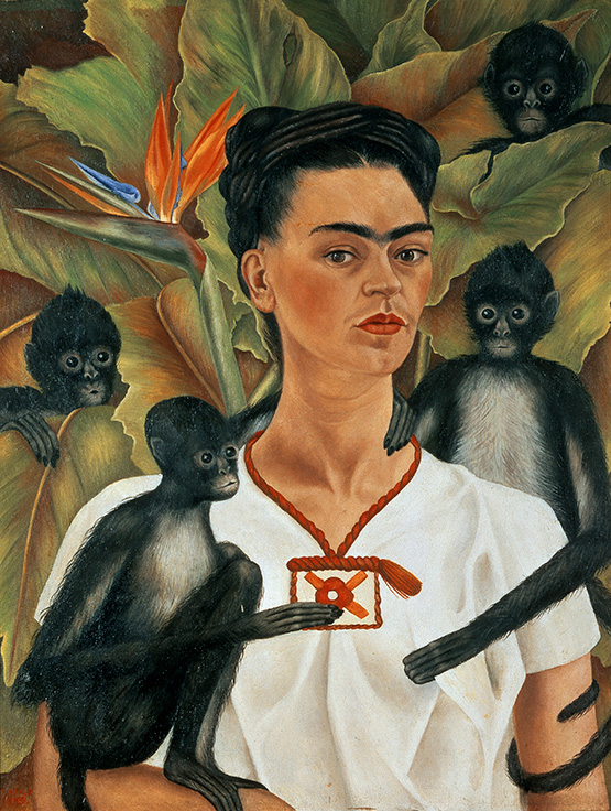 Self-portrait with monkeys, by Frida Kahlo, 1943, oil on canvas