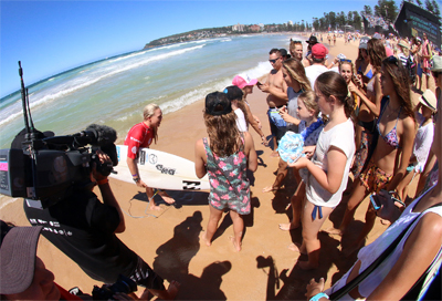 Top Australian female surfer Laura Enever in the Australian Open of Surfing at Manly 2016