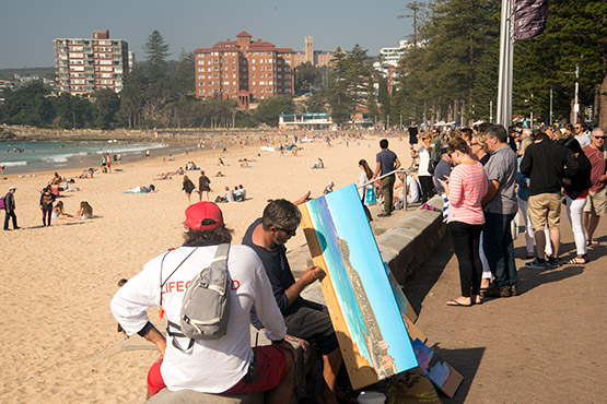 A beach artist at Manly Beach, Sydney