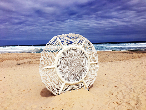 Ocean Lace, by Britt Mikkelsen, at the Scupture by the Sea 2017 exhibition on the Bondi to Tamarama coastal walk, Sydney