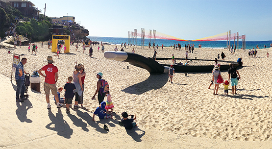 Artworks set up on Tamarama Beach during the 2014 Sculpture by the Sea exhibition.