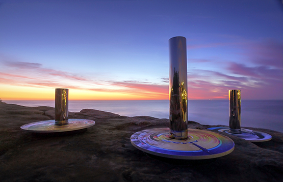 Coast Totem, by Linda Matthews and Carter Williamson, at the Scupture by the Sea exhibition on the Bondi to Tamarama coastal walk, Sydney