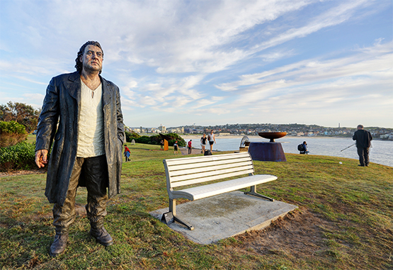 The Wanderer, by Sean Henry, at the Scupture by the Sea exhibition on the Bondi to Tamarama coastal walk, Sydney