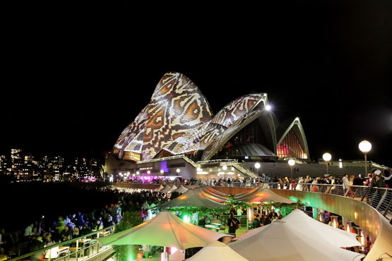 Nightime festivities at the Sydney Opera House