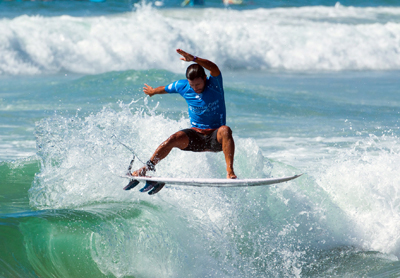 Tomas Hermes competing in the Australian Open of Suring at Manly beach 2016
