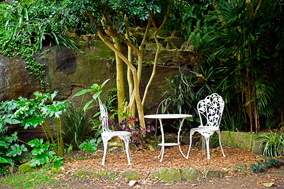A table for two in Wendy's Secret Garden in Lavender Bay, Sydney