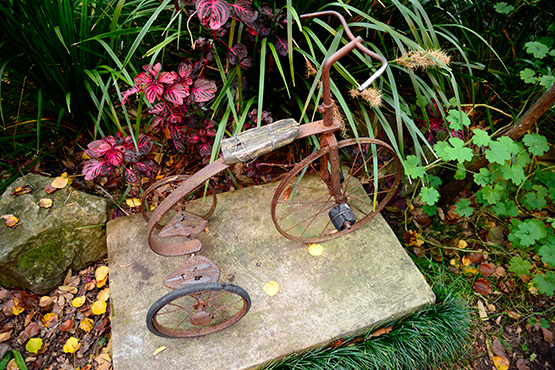 old-time child's bike in Wendy's Secret Garden in Lavender Bay, Sydney