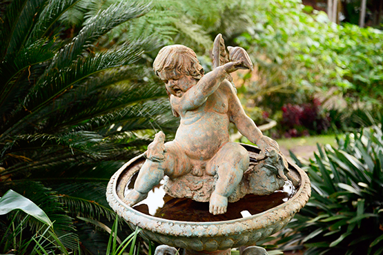 Cherub and frog in Wendy's Secret Garden in Lavender Bay, Sydney