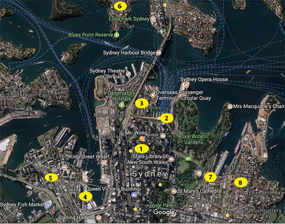 Map of where to stay in Sydney